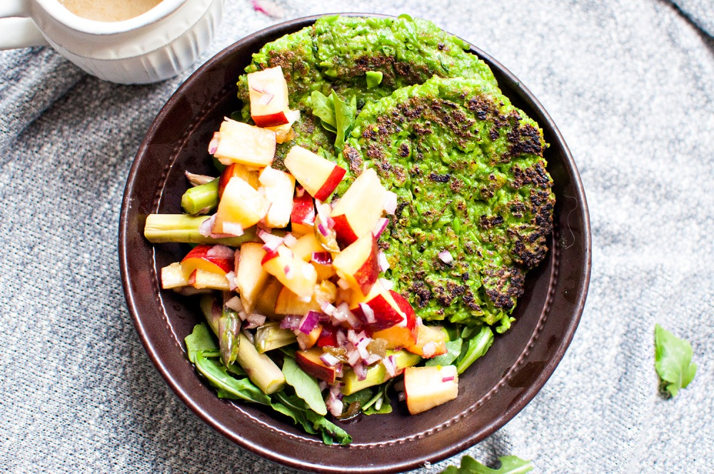 GREEN PEA PATTIES w/LEMON TAHINI DRESSING