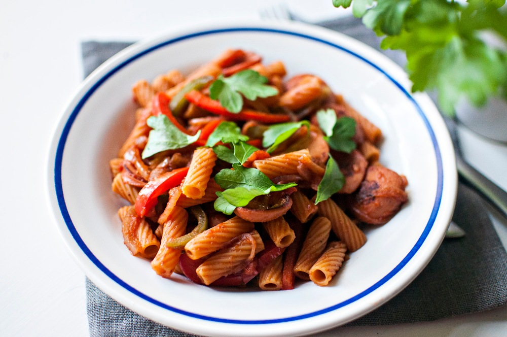 MERGUEZ, BELL PEPPER and ONION PASTA