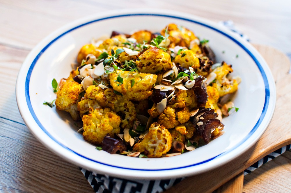 TURMERIC ROASTED CAULIFLOWER w/ DATES AND ALMONDS