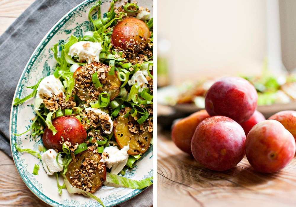 SALAD w/ ROASTED PLUMS and SAVORY GRANOLA