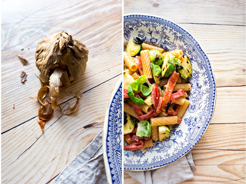 ROASTED PEPPER AND BRUSSEL SPROUT PASTA w/ BLACK GARLIC
